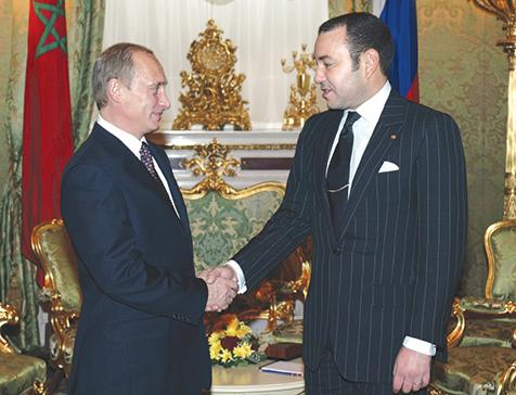 S.M. le Roi Mohammed VI et le président Vladimir Poutine.