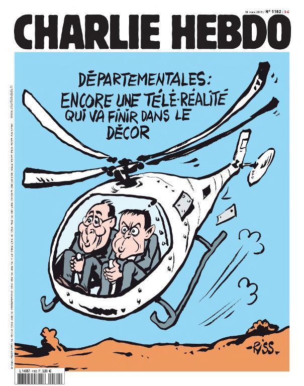 Couverture de Charlie Hebdo diffusée le 17 mars 2015, la veille de sa sortie en kiosque, signée Riss, un des survivants du massacre d'une grande partie de la rédaction du magazine satirique le 7 janvier. AFP