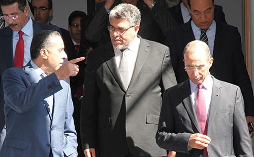 Abdellatif Hammouchi,  Mustapha  Ramid,  Mohamed Hassad  et Bouchaïb  Rmail.