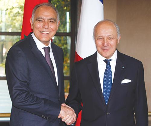 Laurent Fabius et Salah Eddine Mezouar. Lundi 9 mars 2015, Rabat.