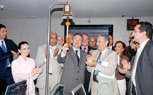 Mohamed  Alami Lazrak  lors de  l'introduction  de son groupe  Alliances à  la bourse de  Casablanca