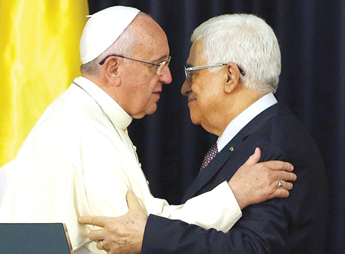 Le Pape et le président palestinien Mahmoud Abbas