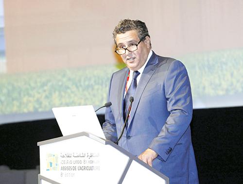 Aziz Akhannouch  prononçant le  discours d'ouverture  des assises  de l'agriculture.  Meknès, le 27  avril 2015 - © Ph : MAP