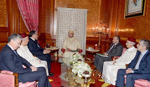 SM le Roi reçoit MM. Mustapha Ramid, Ahmed Toufiq et Driss El Yazami -  © Photo : Map