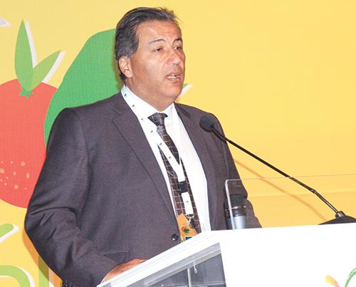 Tariq Sijilmassi,  président du  Crédit Agricole,  intervenant  au SIAM 2015.  Meknès, le 29  avril 2015.