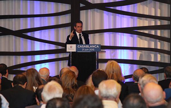 Nicolas Sarkozy lors d'une rencontre avec les membres du parti Les Républicains au Maroc