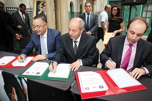 De gauche à droite: Lahcen Haddad, Abdeslam Seddiki et Anass Doukkali.