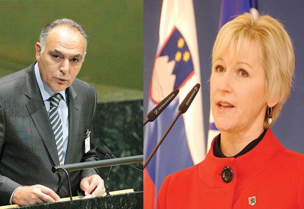 La ministre suédoise des Affaires étrangères, Margot Wallström et son homologue marocain Salaheddine Mezouar.