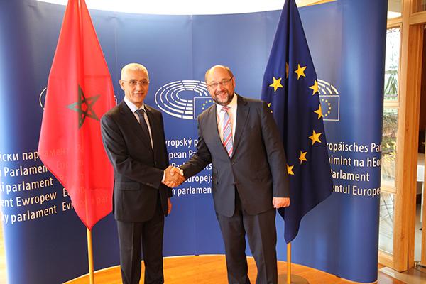 Rachid Talbi Alami avec le président du Parlement européen, Martin Schulz