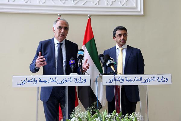 Conférence de presse conjointe de Salaheddine Mezouar et son homologue émirati, S.A. Cheikh Abdellah Ibn Zayed Al Nahyane