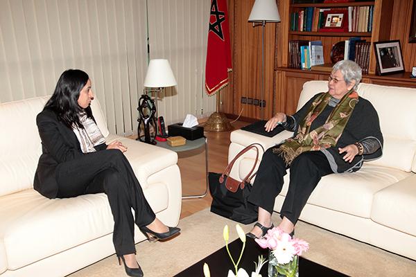 Mme Bouaida s'entretient avec l'experte indépendante de l'ONU Virginia Dandan