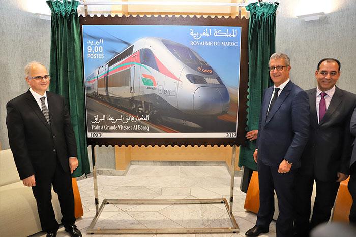 Un nouveau timbre-poste d  di   au TGV  Al Boraq