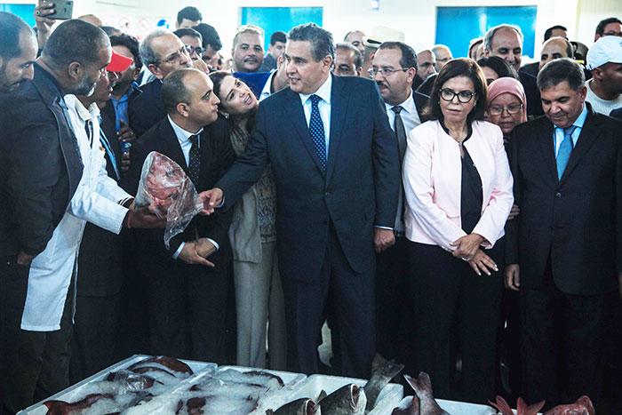 Akhannouch inaugure le march   de gros au poisson d Inezgane