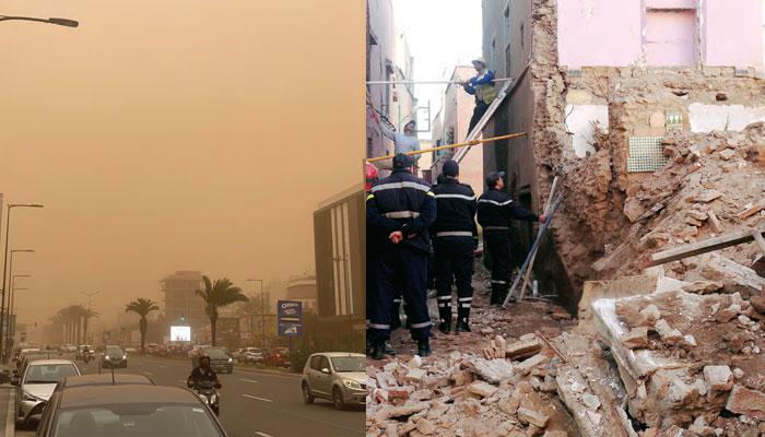 La temp  te cause l   effondrement de deux b  tisses    l   ancienne m  dina de Casablanca