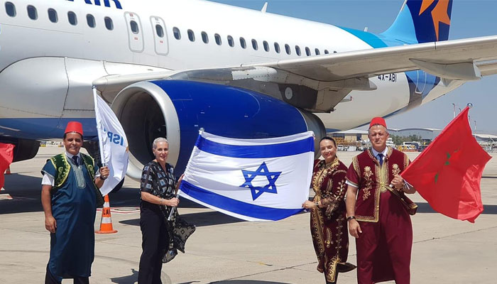 Arriv  e du premier vol commercial entre Tel-Aviv et Marrakech